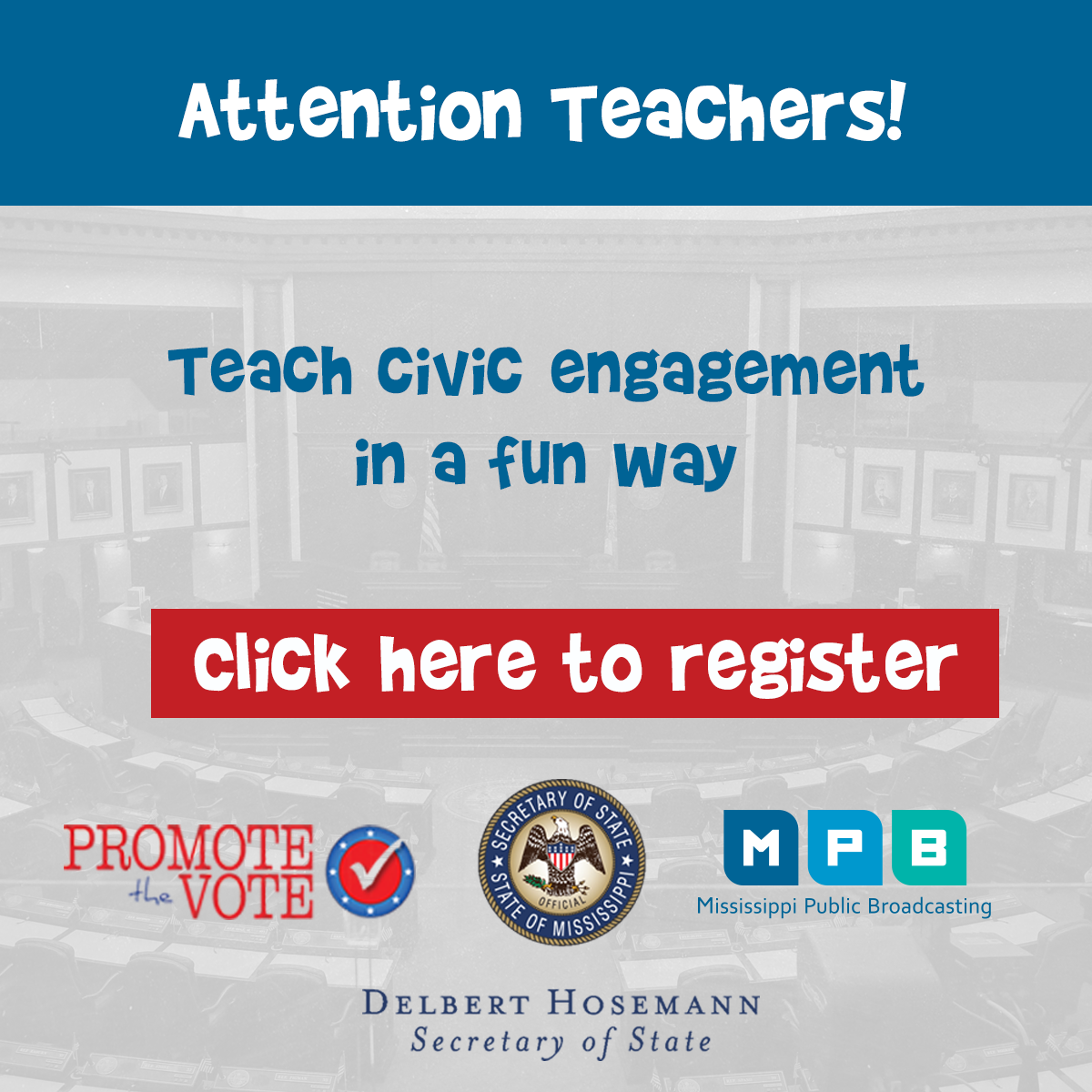 MPB has partnered with the Secretary of State's Office for the Promote the Vote program created for K-12 students.